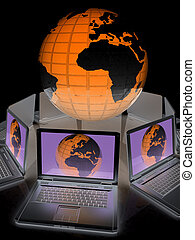 internet, global network, computers around globe. 3d render