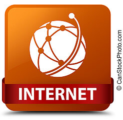 Internet (global network icon) brown square button red ribbon in middle