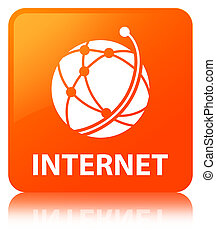 Internet (global network icon) orange square button