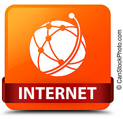 Internet (global network icon) orange square button red ribbon in middle