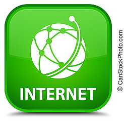 Internet (global network icon) special green square button