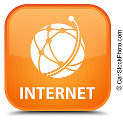 Internet (global network icon) special orange square button