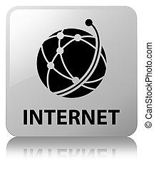 Internet (global network icon) white square button