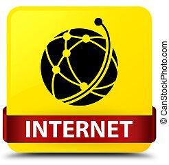 Internet (global network icon) yellow square button red ribbon in middle