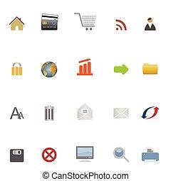 internet, háló, és, e-commerce, ikonok