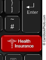 Internet health insurance - Part of keyboard with a red...