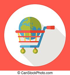 internet het winkelen, kar, pictogram