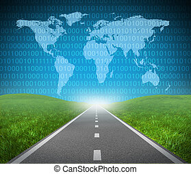 Internet highway - Digital highway showing binary code and a...