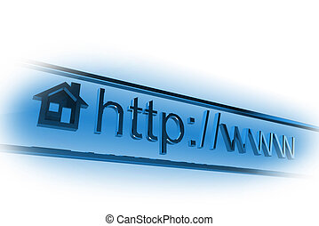 Blue internet homepage address field