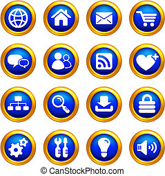 internet icon set on buttons with golden borders