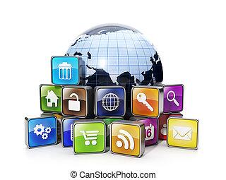 internet., iconos, móvil, oferta, aplicaciones, plano de ...
