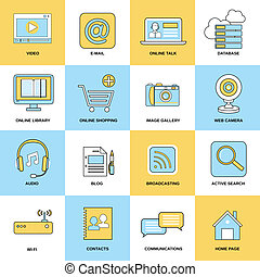Internet Icons Flat Line