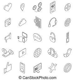 Internet icons set, isometric 3d style