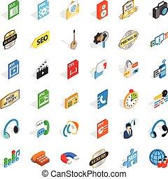 Internet icons set, isometric style