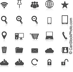 Internet icons with reflect on white background
