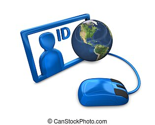 3d rendering, Conceptual illustration internet ID, isolated on white.