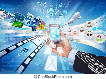 internet, intelligent, téléphone
