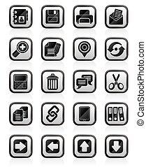 internet, interface, icônes