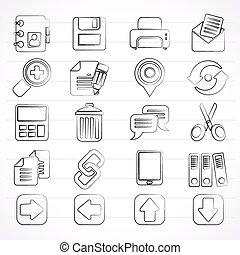 internet, interfaz, iconos