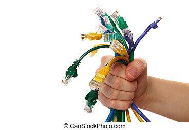 internet, kablar, in, hand
