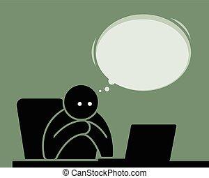 internet., komputer, czytanie, człowiek, oglądając