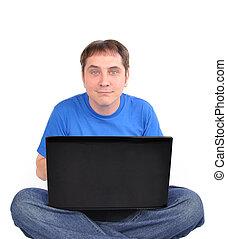 internet, komputer, obsadzać posiedzenie, na białym