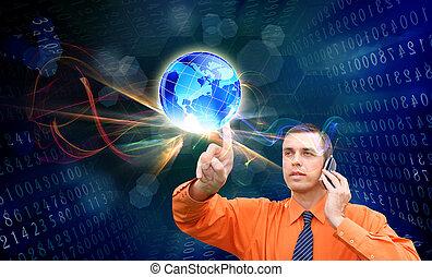 internet., koppla samman, innovativ