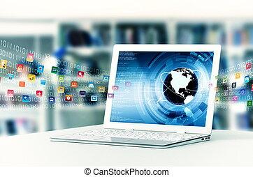 Internet Laptop - Conceptual image about how a laptop...