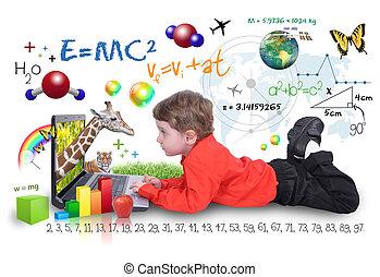 internet, laptop, fiú, noha, tanulás, eszközök