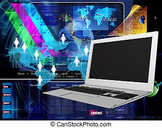 internet., laptop., innovative