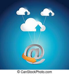 internet, ligne, connection., nuage, calculer
