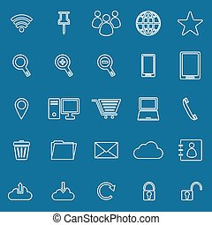 Internet line icons on blue background