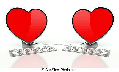 Internet love concept and red hearts