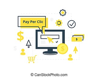 Internet marketing, advertising concept in line and flat style. PPC pay per click - vector illustration.