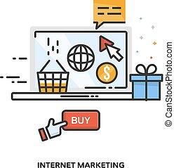 internet marketing, begriff, design., vektor, linie, design.