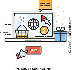 Internet marketing concept design. Vector line design.