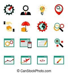 Internet marketing flat icons set on white background