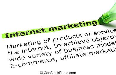 'Internet marketing' highlighted in green