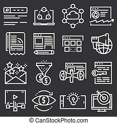 Internet marketing icon set in thin line style