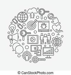 Internet marketing round illustration