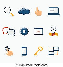 Internet marketing services icons set