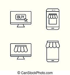 internet marketplace and online market line icons set on...