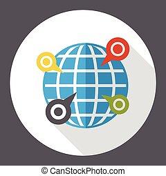 internet, mondiale, emplacement, plat, icône