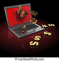 internet money - 3d illustration of laptop computer with ...