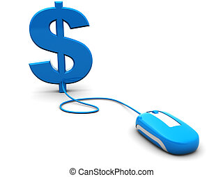 internet money - abstract 3d illustration of computer mouse...