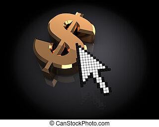 internet money - 3d illustrartion of dollar sign and mouse...