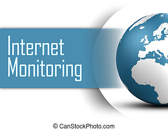 Internet Monitoring concept with globe on white background