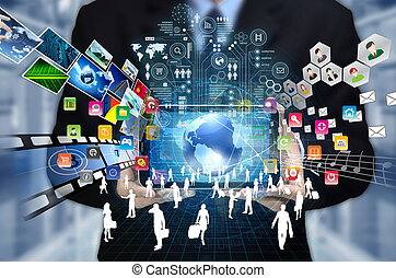 Internet Multimedia - Businessman showing the concept of...