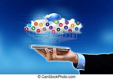 internet, multimedia, elegante, teléfono