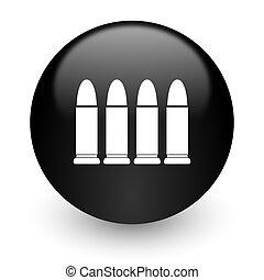internet, munición, negro, brillante, icono